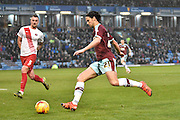 Burnley Midfielder, George Boyd looking to pass through the Charlton box  during the Sky Bet Championship match between Burnley and Charlton Athletic at Turf Moor, Burnley, England on 19 December 2015. Photo by Mark Pollitt.