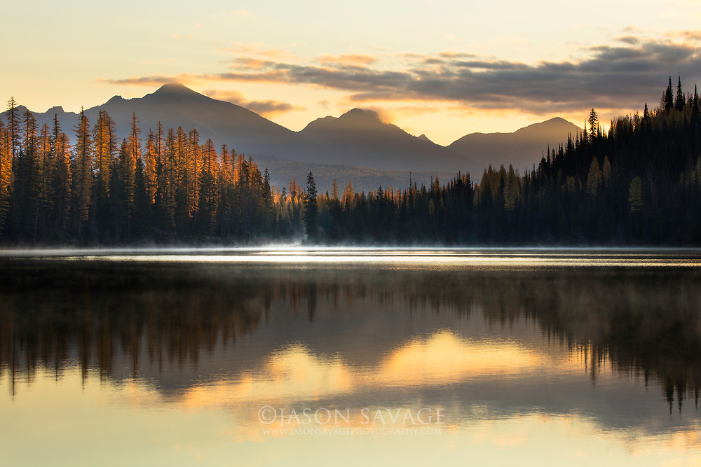 Sunrise on Marshall Lake, Montana.