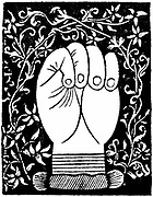Chiromancy: Lines of the closed hand from Andre Corvo 'L'Art de Chyromance' Lyons c1545. Woodcut.
