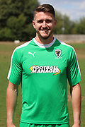 AFC Wimbledon goalkeeper Joe McDonnell (24) during the AFC Wimbledon 2018/19 official photocall at the Kings Sports Ground, New Malden, United Kingdom on 31 July 2018. Picture by Matthew Redman.