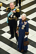 03.01.12. Copenhagen, Denmark..Queen Magrethe II and Prince Henrik receiving the chiefs of the diplomatic corps in the Rider's Hall during the New Year's Court in Christiansborg Palace.Photo:© Ricardo Ramirez