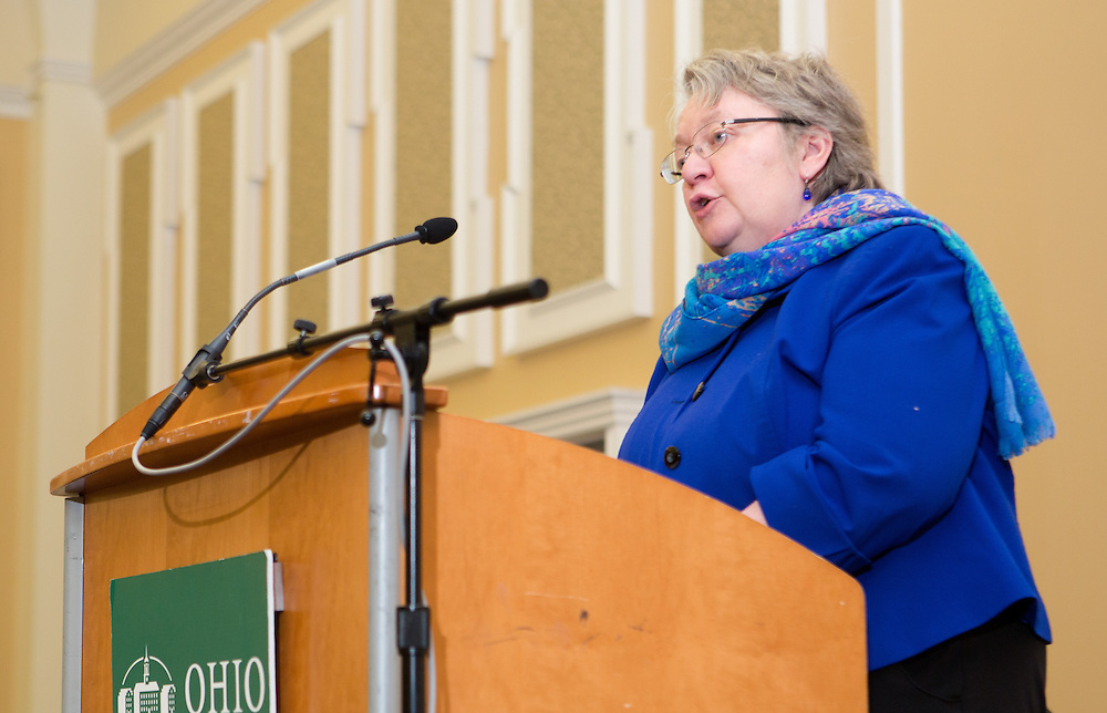 Executive Vice President and Provost Pam Benoit speaks during the Classified Senate Awards on Oct. 2, 2014 in Baker Center Ballroom. Photo by Lauren Pond