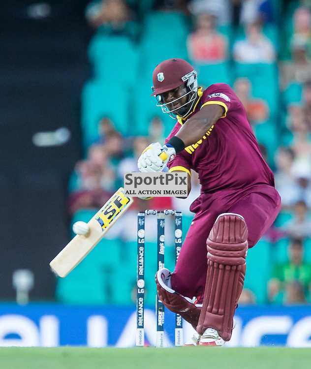 ICC Cricket World Cup 2015 Tournament Match, South Africa v West Indies, Sydney Cricket Ground; 27th February 2015<br /> West Indies Jonathan Carter plays a shot