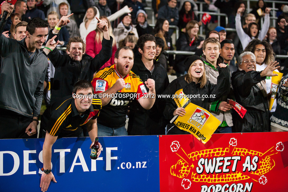 Crowds of fans celebrate after the Super Rugby Semi Final won by the Chiefs (20-17) against the Crusaders at Waikato Stadium, Hamilton, New Zealand, Friday 27 July 2012. Photo: Stephen Barker/Photosport.co.nz