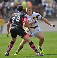 Danny Addy of Bradford Bulls and Daniel Smith of Wakefield Trinity Wildcats during the First Utility Super League match at Odsal Stadium, Bradford<br /> Picture by Richard Land/Focus Images Ltd +44 7713 507003<br /> 01/06/2014