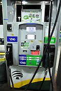 filling up unleaded petrol at a petrol station