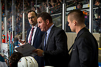 KELOWNA, CANADA - JANUARY 19:  Kelowna Rockets' head coach Adam Foote stands on the bench with assistant coach Kris Mallette against the Prince Albert Raiders on January 19, 2019 at Prospera Place in Kelowna, British Columbia, Canada.  (Photo by Marissa Baecker/Shoot the Breeze)