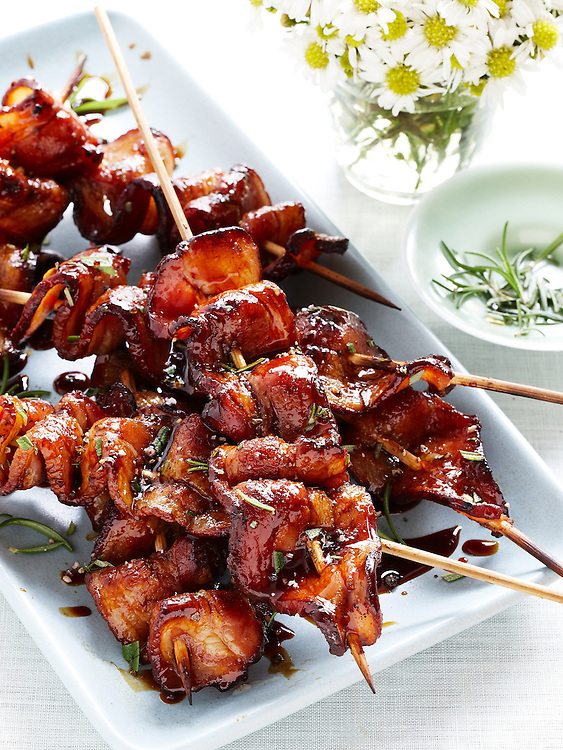 Grilled Bacon with Balsamic-Molasses Glaze Kebab