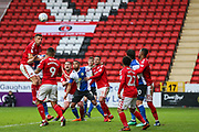 Charlton Athletic defender Jason Pearce (6) heads the ball out of danger during the EFL Sky Bet League 1 match between Charlton Athletic and Blackburn Rovers at The Valley, London, England on 28 April 2018. Picture by Toyin Oshodi.