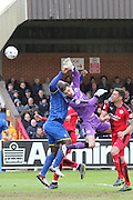 Bayo Akinfenwa forward for AFC Wimbledon (10) in action during the Sky Bet League 2 match between AFC Wimbledon and Crawley Town at the Cherry Red Records Stadium, Kingston, England on 16 April 2016. Photo by Stuart Butcher.
