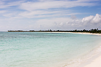 view of the beautiful white sand beach of cozumel island in yucatan mexico