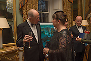 LORD JACOB ROTHSCHILD; JOANNA VASCONCELOS, Professor Mikhail Piotrovsky Director of the State Hermitage Museum, St. Petersburg and <br /> Inna Bazhenova Founder of In Artibus and the new owner of the Art Newspaper worldwide<br /> host THE HERMITAGE FOUNDATION GALA BANQUET<br /> GALA DINNER <br /> Spencer House, St. James's Place, London<br /> 15 April 2015