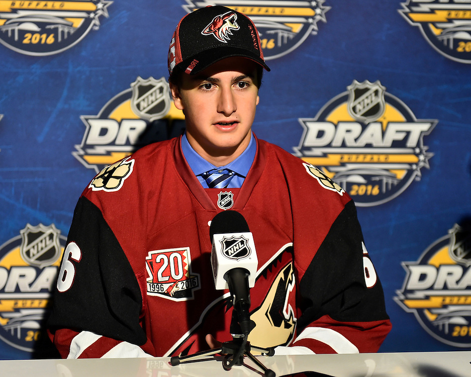 Cam Dineen of the North Bay Battalion was selected by the Arizona Coyotes at the 2016 NHL Draft in Buffalo, NY on Saturday June 25, 2016. Photo by Aaron Bell/CHL Images