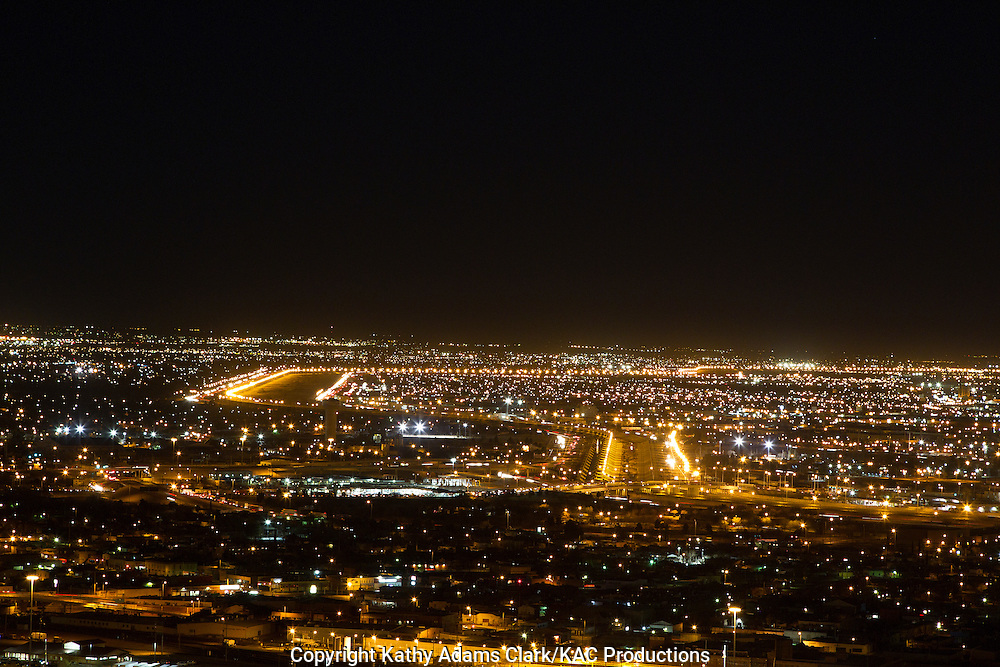City lights of El Paso, Texas, and Juarez, Mexico, from Scenic Drive, on the Franklin Mountains.