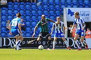 Calvin Andrew scores 1-2 during the Sky Bet League 1 match between Colchester United and Rochdale at the Weston Homes Community Stadium, Colchester, England on 8 May 2016. Photo by Daniel Youngs.