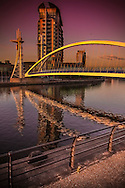 A View of the Lowry Bridge during the sunset. Salford, Manchester.