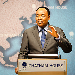 HE Mahamadou Issoufou, President of the Republic of Niger, addresses the audience during the ?Niger?s Growing Regional and International Importance? conference at Chatham House.