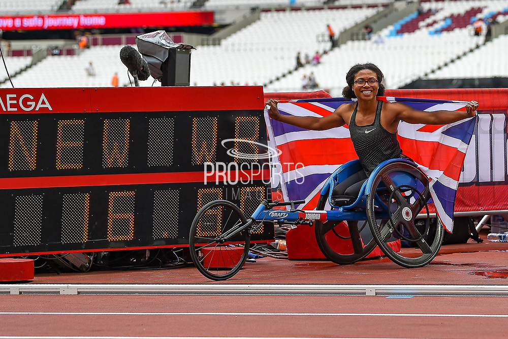 Kare Adenegan of Great Britain celebrates winning the Women's T34 100m and setting a new world record (wr) during the Muller Anniversary Games, Day Two, at the London Stadium, London, England on 22 July 2018. Picture by Martin Cole.