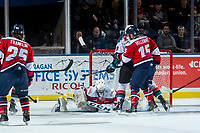 KELOWNA, CANADA - JANUARY 17: Reece Klassen #31 of the Lethbridge Hurricanes makes a first period save on a shot by Nolan Foote #29 of the Kelowna Rockets on January 17, 2017 at Prospera Place in Kelowna, British Columbia, Canada.  (Photo by Marissa Baecker/Shoot the Breeze)  *** Local Caption ***