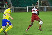 Whitehawk's David Ijaha during the Sussex Senior Cup Quarter Final match between Whitehawk and Crawley Town at the Enclosed Ground, Brighton & Hove, United Kingdom on 13 January 2015. Photo by Phil Duncan.