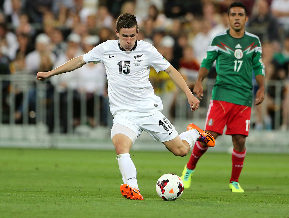 New Zealand Louis Fenton against Mexico in the World Cup Football qualifier, Westpac Stadium, Wellington, New Zealand, Wednesday, November 20, 2013. Cedit:SNPA / John Cowpland