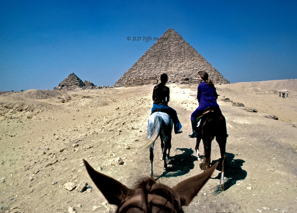 From the photographer's viewpoint, looking over the horse's ears toward two women riding horses ahead, in conversation, approaching the Pyramids.  Giza desert spread on either side.