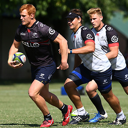 Philip van der Walt with Etienne Oosthuizen  and Daniel Du Preez during The Cell C Sharks training session at Growthpoint Kings Park in Durban, South Africa. 18 April 2017(Photo by Steve Haag)<br /> <br /> images for social media must have consent from Steve Haag