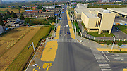 YANGZHOU, CHINA - OCTOBER 19: (CHINA OUT) <br /> <br /> Rice Spread Out On Suburban Roads <br /> <br /> Aerial view of rice spread out to dry on the suburban road in Yangzhou, Jiangsu Province of China.<br /> ©Exclusivepix Media
