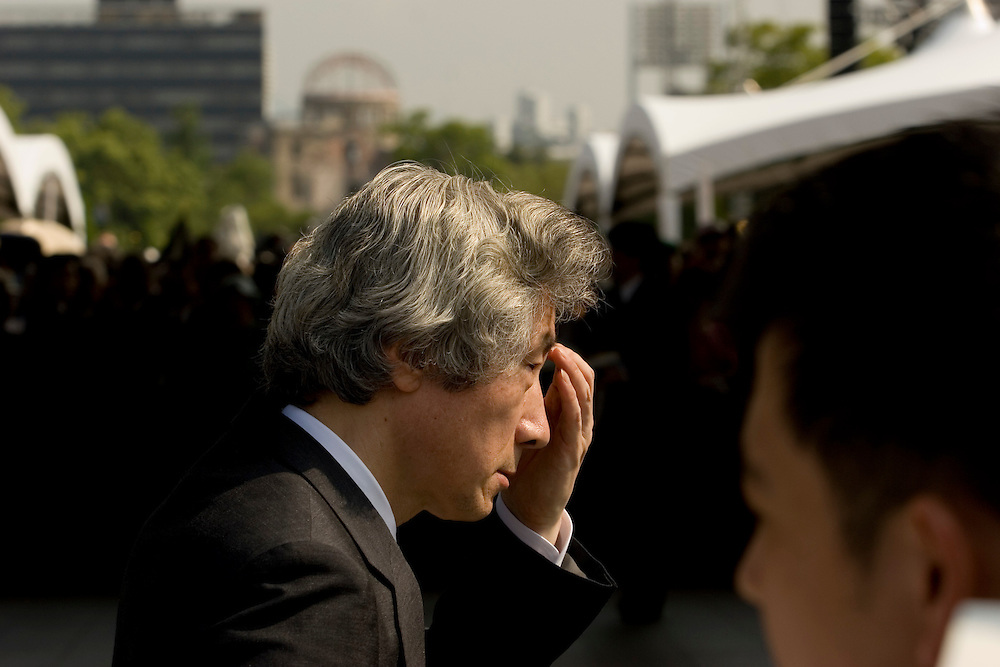 Aug 6, 2005--Japanese Prime Minister Junichiro Koizumi in Hiroshima a few days before the upper house of Parliament voted down legislation to divide and sell the country's postal service prompting Koizumi to follow through on a promise to dissolve the lower house of Parliament forcing a snap election.