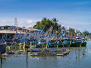 28 OCTOBER 2012 - SAI BURI, PATTANI, THAILAND: The fishing fleet in the port in Sai Buri. Sai Buri, in Narathiwat province, Thailand, has been the scene of several bloody attacks in Thailand's long running Muslin insurgency. In September, 2012, a large car bomb was detonated in front of a Buddhist owned business in the village killing six and injuring scores of people. In October, 2012, in a possible revenge attack, hand grenades were rolled into a crowd of Muslim diners, injuring 16. More than 5,000 people have been killed and over 9,000 hurt in more than 11,000 incidents, or about 3.5 a day, in Thailand's three southernmost provinces and four districts of Songkhla since the insurgent violence erupted in January 2004, according to Deep South Watch, an independent research organization that monitors violence in Thailand's deep south region that borders Malaysia.    PHOTO BY JACK KURTZ