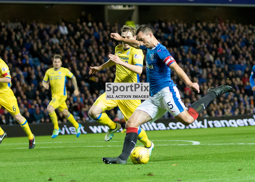 Joe Garner ( Rangers FC ) is mobbed by Lee Hodson ( Rangers FC ), Rob Kiernan ( Rangers FC ) and Clint Hill ( Rangers FC ).Rangers v St. Johnstone, Scottish Premiership, 26th October 2016. (c) Paul Cram | SportPix
