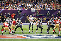 3 February 2013: Quarterback (5) Joe Flacco of the Baltimore Ravens passes the ball against the San Francisco 49ers during the first half of the Ravens 34-31 victory over the 49ers in Superbowl XLVII at the Mercedes-Benz Superdome in New Orleans, LA.