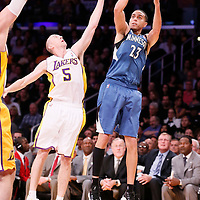 10 November 2013: Minnesota Timberwolves shooting guard Kevin Martin (23) takes a jumpshot over Los Angeles Lakers point guard Steve Blake (5) during the Minnesota Timberwolves 113-90 victory over the Los Angeles Lakers at the Staples Center, Los Angeles, California, USA.