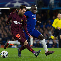 Lionel Messi of Barcelona and N'Golo Kante of Chelsea during the Champions League match between Chelsea and Brcelona at Stamford Bridge, London on Tuesday 20th February 2018.  (C) Steven Morris | SportPix.org.uk