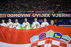 Croatian team and flag during the football match between National teams of Croatia and Greece in First leg of Playoff Round of European Qualifiers for the FIFA World Cup Russia 2018, on November 9, 2017 in Stadion Maksimir, Zagreb, Croatia. Photo by Ziga Zupan / Sportida