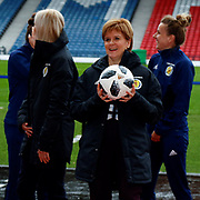 First Minister Nicola Sturgeon (Patron on the Scotland Womens National Team) jokes with the assembled press ahead of the press conference for the Scotland Women's team World Cup Funding Announcement held at Hampden Park, Glasgow, United Kingdom on 26 September 2018.