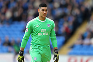 Neil Etheridge, the Cardiff City goalkeeper looks on. EFL Skybet championship match, Cardiff city v Millwall at the Cardiff city stadium in Cardiff, South Wales on Saturday 28th October 2017.<br /> pic by Andrew Orchard, Andrew Orchard sports photography.