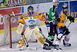 Matt Higgins (HDD Tilia Olimpija, #88) and Fabian Weinhandl (Moser Medical Graz 99ers, #69) during ice-hockey match between HDD Tilia Olimpija and Moser Medical Graz 99ers in 21st Round of EBEL league, on November 21, 2010 at Hala Tivoli, Ljubljana, Slovenia. (Photo By Matic Klansek Velej / Sportida.com)