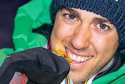 24.02.2017, Lahti, FIN, FIS Weltmeisterschaften Ski Nordisch, Lahti 2017, Herren Langlauf, 10km Sprint, Medaillen Zeremonie, im Bild Goldmedaillengewinner Federico Pellegrino (ITA) // Goldmedalist Federico Pellegrino of Italy during the Medal Award Ceremony for the men's Cross Country Sprint competition of FIS Nordic Ski World Championships 2017. Lahti, Finland on 2017/02/24. EXPA Pictures © 2017, PhotoCredit: EXPA/ JFK