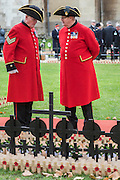 Chelsea pensioners chat and remember - The Duke of Edinburgh, Life Member, Royal British Legion, accompanied by Prince Harry, visit the Field of Remembrance at Westminster Abbey  - 10 November 2016, London.