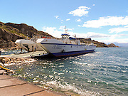 La Tehuelche ferry on General Carrera Lake (Chilean side) or Lake Buenos Aires (Argentine side) is a lake located in Patagonia and shared by Argentina and Chile.