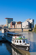 Europe, Germany, Duesseldorf, the Medienhafen (Media harbour) with the Colorium skyscraper.<br /> <br /> Europa, Deutschland, Duesseldorf, der Medienhafen mit dem Colorium Hochhaus.
