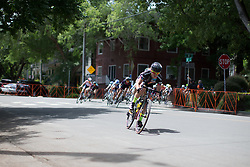 Amanda Miller (USA) of the Visit Dallas DNA Pro Cycling team leads the peloton during the fourth, 70 km road race stage of the Amgen Tour of California - a stage race in California, United States on May 22, 2016 in Sacramento, CA.