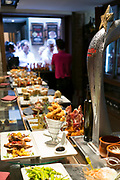 Spanish tapas, pintxos, in tapas bar restaurant, Logrono, Basque Country, Spain