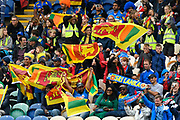 Sri Lanka fans wave their flags during the ICC Cricket World Cup 2019 match between Afghanistan and Sri Lanka at the Cardiff Wales Stadium at Sophia Gardens, Cardiff, Wales on 4 June 2019.