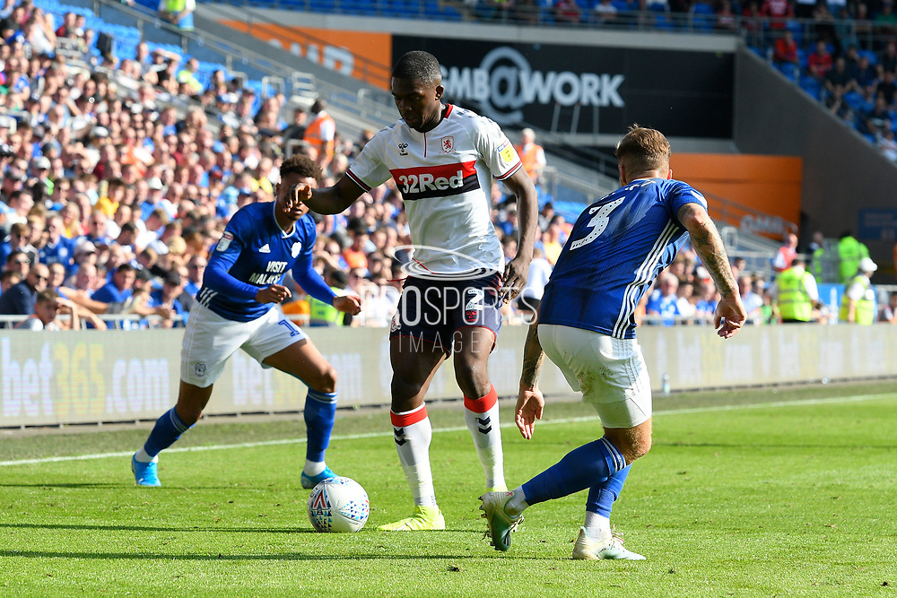 Anfernee Dijksteel (2) of Middlesbrough on the attack during the EFL Sky Bet Championship match between Cardiff City and Middlesbrough at the Cardiff City Stadium, Cardiff, Wales on 21 September 2019.