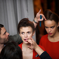 Models are styled backstage before Saloni autumn 2011 collection at the Savile Club in London on 18 February 2011.