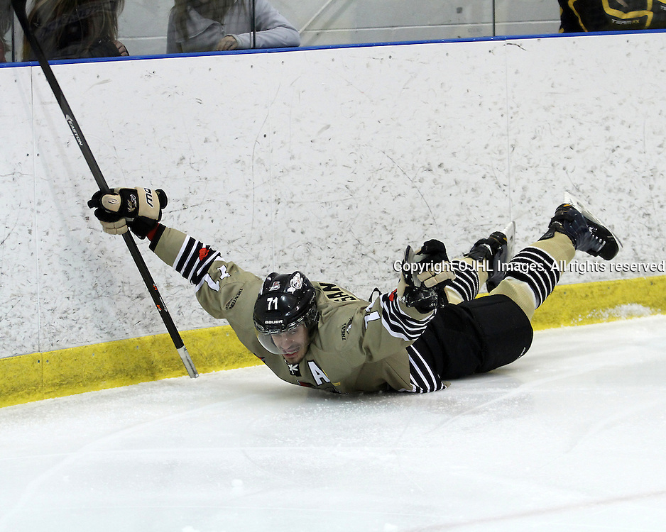 KINGSTON,ON-Mar 20 :<br />  Ontario Junior Hockey League, OJHL North East Conference playoff series round two, Kingston Voyageurs vs Trenton Golden Hawks. Connor Hughes # of the Trenton Golden Hawks Hockey Club celebrates the goal during first period game action. (Photo by Robert John Boucher / OJHL Images)