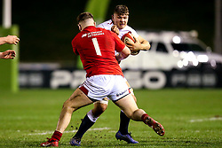 Aaron Hinkley of England U20 takes on Rhys Davies of Wales U20 - Mandatory by-line: Robbie Stephenson/JMP - 22/02/2019 - RUGBY - Zip World Stadium - Colwyn Bay, Wales - Wales U20 v England U20 - Under-20 Six Nations