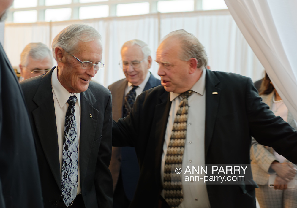 Garden City, New York, U.S. June 6, 2019. At left, Apollo 16 astronaut CHARLIE DUKE is about to walk through entrance curtain, at Cradle of Aviation Museum, to Apollo at 50 Anniversary Dinner, an Apollo astronaut tribute celebrating the Apollo 11 mission Moon landing.